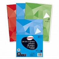 Cora lot 3 cahiers piqûre (agrafe) A4 96 pages seyes grands carreaux 90g couverture polypropylène