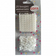 Cora bougies bobèches x20 blanches