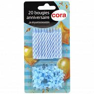 Cora bougies bobèches x20 bleu