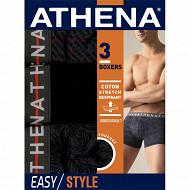 Lot de 3 boxers ligne Easy Style Athena 2100 FEUILLAG/NOIR/LOGO T4