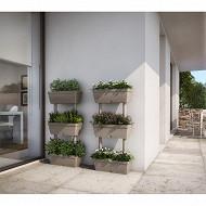 Mur végétal composé de 3 jardinières + tubes coloris terre cuite