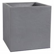 """Eda pot carré """"volcania"""" - décor pierre gris galet double paroi réf 13730 G.GL"""