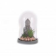 Bouddha avec plante succulente sous dome 21cm