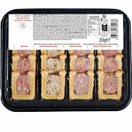Plateau de petit pâté en croute cocktail 4 recettes 16 tranches 256g frais emballé