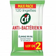 Cif lingettes nettoyantes anti bacteriennes multi usages lot 2x120
