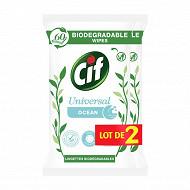 Cif lingette nettoyantes biodégradable ocean multi-usage lot 2x60