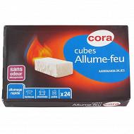 Cora allume feux x24 cubes sans odeur