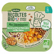 Bledina les récoltes bio duo carottes aubergines et lentilles quinoa