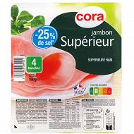 Cora jambon cuit supérieur -25%sel 4tranches 160g