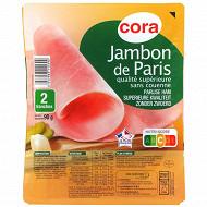 Cora jambon de Paris qualité supérieure sans couenne 2 tranches 90g
