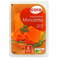 Cora 8 tranchettes mimolette au lait pasteurisé 24%mg 200 g