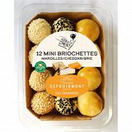 12 mini briochettes maroilles cheddar brie 144g Defroidmont