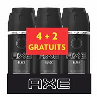 Axe déodorant homme spray anti transpirant Black 6x150ml (4+2grt)