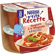 Nestlé p'tite recette spaghetti bolognaise bol 2x200g dès 8 mois