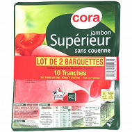Cora jambon supérieur lot de 2x10 tranches 900g
