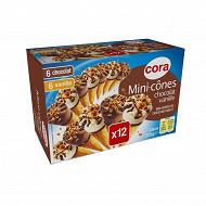 Cora 12 mini cônes 6 vanille 6 chocolat 336ml - 225g