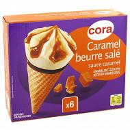 Cora 6 cônes caramel au beurre salé 720ml - 420g