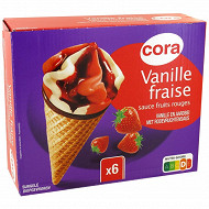 Cora 6 cônes vanille fraise 720ml - 426G
