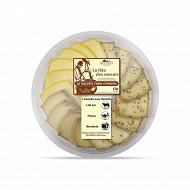Assiette 18 tranches raclette mixte lait cru + poivre + moutarde 540g 30%mg/pt