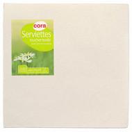 Cora serviettes x40 toucher textile ivoire 38x38cm 2 plis