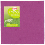 Cora serviettes X40 prune toucher textile 38cm 2 plis