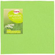 Cora serviettes x40 vert anis 38x38cm toucher textile 2 plis