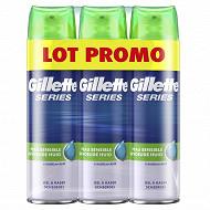 Gillette gel à raser series peau sensible à l'aloe lot de 3x200ml