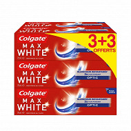 Colgate max white dentrifrice optic 3+3 offerts x 75ml