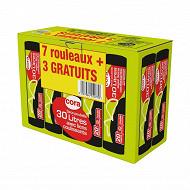 Cora sacs poubelle x10 30l liens coulissants lot 7 + 3 offerts