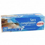 Cora sacs congélation x50 à soufflet moyen modèle