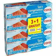 Cora sacs congélation x25 à soufflet grand modèle 3 + 1 offert