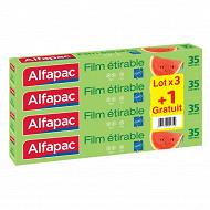 Alfapac film étirable 35m en lot de 3 + 1 gratuit