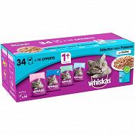 Whiskas sf selection poissons en gelée pour chat adulte stérelisé 48x1