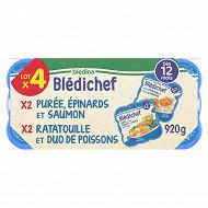 Blédina blédichef purée onctueuse épinards/ saumon-ratatouille/duo poissons x4 dés 12 mois