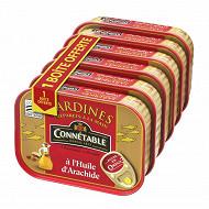 Connétable 1/5 sardines à l'huile d'arachide 135g  lot 5 + 1 boite offerte