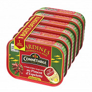 Connétable 1/5 sardines à l'huile d'olive et au piment d'Espelette 135g lot 5 + 1 boîte