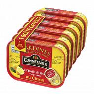 Connétable 1/5 sardines à l'huile d'olive vierge extra et au citron 135g lot 5+1