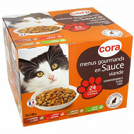 Cora menus gourmands en sauce pour chat 24 x 100g