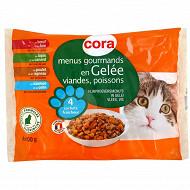 Cora menus gourmands en gelée pour chat 4 x 100g