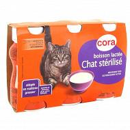 Cora boisson lactée chat stérilisé 3x200 ml