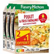 Fleury Michon Poulet et Farfallines sauce ricotta épinards 3x280g 2 + 1 offert