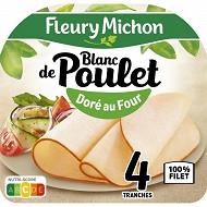 Fleury Michon blanc de poulet doré au four 100% filet 4 tranches 160g