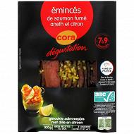 Cora dégustation émincés de saumon fumé à l'aneth et au zeste de citron 100g