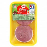 Cora 2 filets de dinde en tournedos certifié 250g