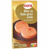 Cora bloc de foie gras d'oie avec morceaux 2x40g
