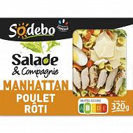 Sodebo Salade Manhattan: poulet pâtes crudités fromage 320g