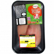 Cora filets de poulet fermier jaune label rouge d'Auvergne x2