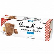 Bonne Maman mousse aux oeufs frais chocolat lait 8x50g format gourmand