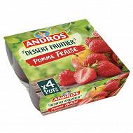 Andros dessert de pommes et de fraises 4x100g