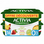 Activia fruits 0% panaché 16x125g offre découverte